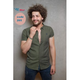 قميص نص كم جبردين قطن اخضر